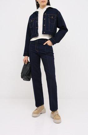 Женские джинсы VALENTINO темно-синего цвета, арт. UB3DD10K5K8 | Фото 2