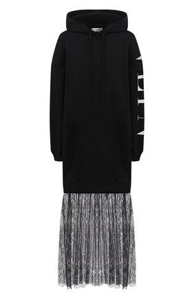 Женское хлопковое платье VALENTINO черно-белого цвета, арт. UB3MJ02F5NC | Фото 1