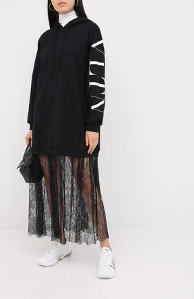 Женское хлопковое платье VALENTINO черно-белого цвета, арт. UB3MJ02F5NC | Фото 2