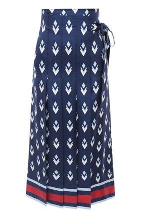 Женская шелковая юбка VALENTINO синего цвета, арт. UB3RA6275LB | Фото 1