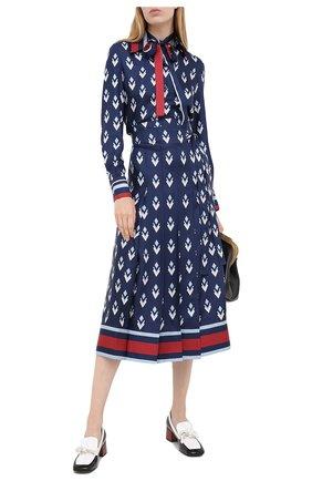 Женская шелковая юбка VALENTINO синего цвета, арт. UB3RA6275LB | Фото 2