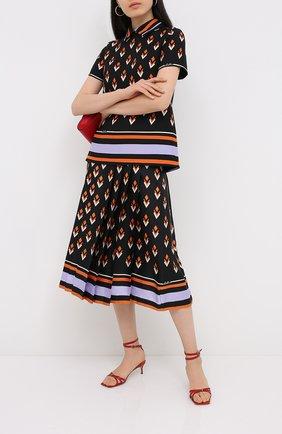Женская шелковая юбка VALENTINO черного цвета, арт. UB3RA6F25LB | Фото 2