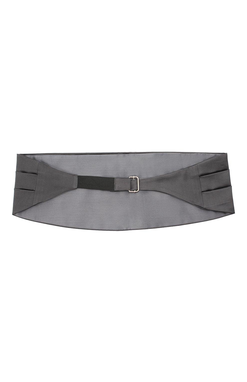 Мужской камербанд из хлопка и шелка BRUNELLO CUCINELLI серого цвета, арт. MR813S005   Фото 2 (Материал: Текстиль, Хлопок)