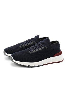 Мужские текстильные кроссовки BRUNELLO CUCINELLI темно-синего цвета, арт. MZUWLB0259 | Фото 1