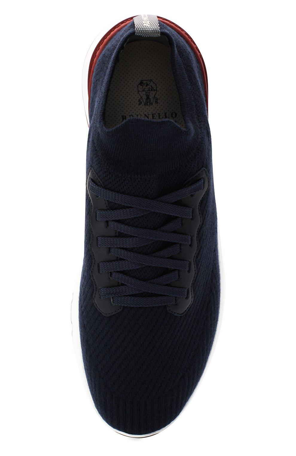 Мужские текстильные кроссовки BRUNELLO CUCINELLI темно-синего цвета, арт. MZUWLB0259   Фото 5 (Материал внешний: Текстиль; Материал внутренний: Натуральная кожа, Текстиль; Подошва: Массивная; Стили: Спорт)