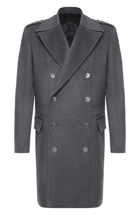 Мужской кашемировое пальто BALMAIN серого цвета, арт. UH18090/W070 | Фото 1