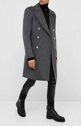 Мужской кашемировое пальто BALMAIN серого цвета, арт. UH18090/W070 | Фото 2