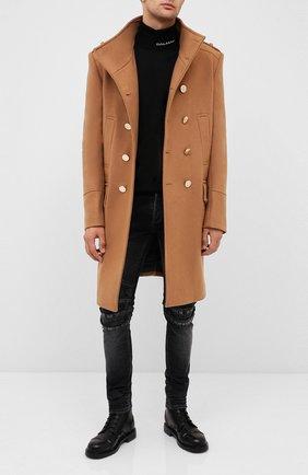 Мужской шерстяное пальто BALMAIN бежевого цвета, арт. UH18419/W076 | Фото 2