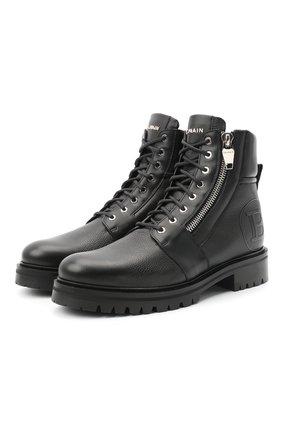 Мужские кожаные ботинки BALMAIN черного цвета, арт. UM1C148/LGLS | Фото 1