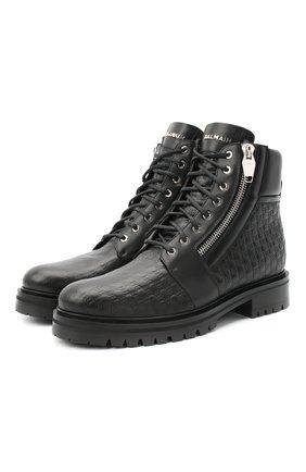 Мужские кожаные ботинки BALMAIN черного цвета, арт. UM1C148/LSEB | Фото 1