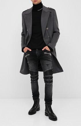 Мужские кожаные ботинки BALMAIN черного цвета, арт. UM1C148/LSEB | Фото 2