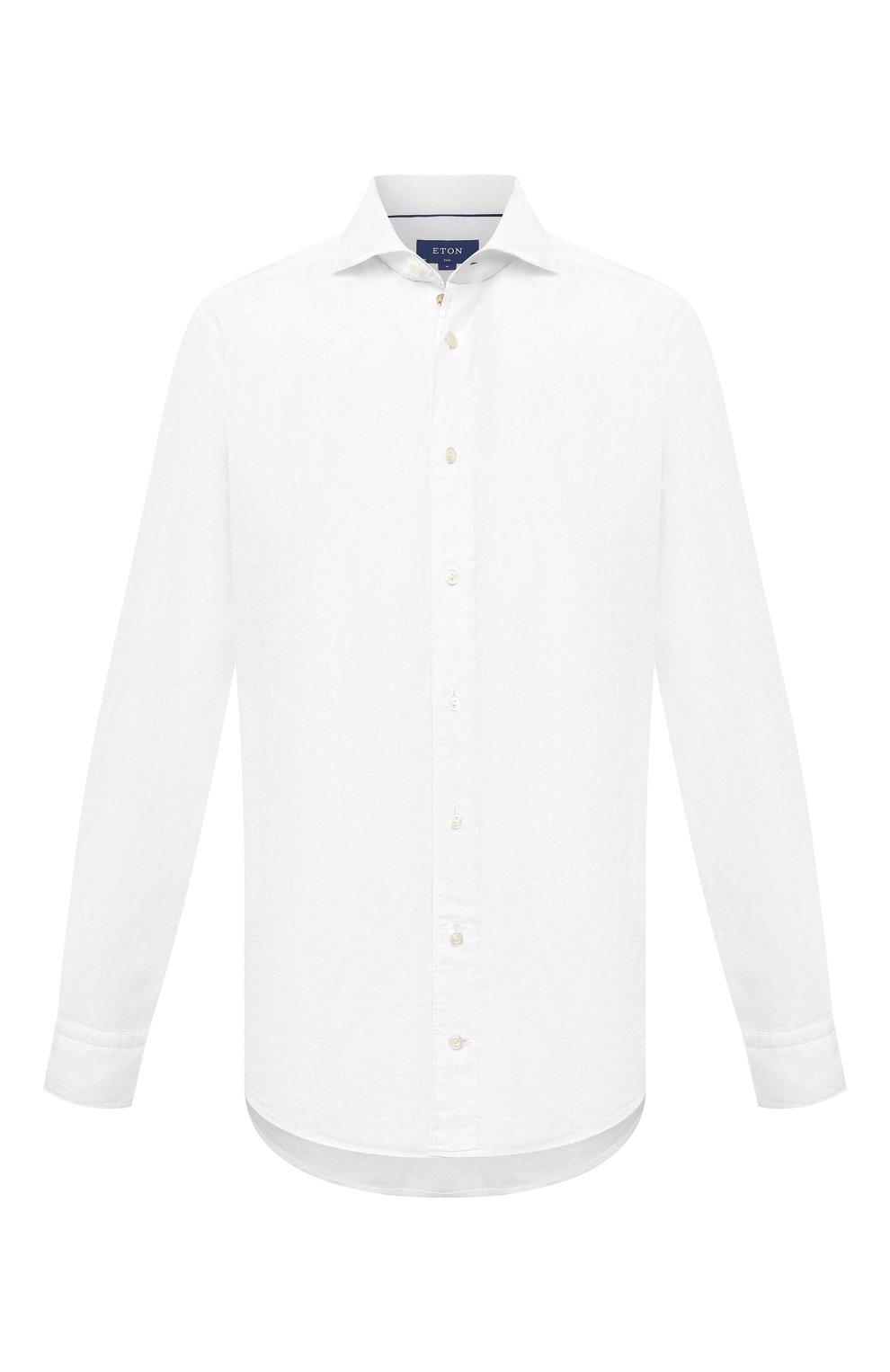 Мужская рубашка изо льна и хлопка ETON белого цвета, арт. 1000 01526   Фото 1