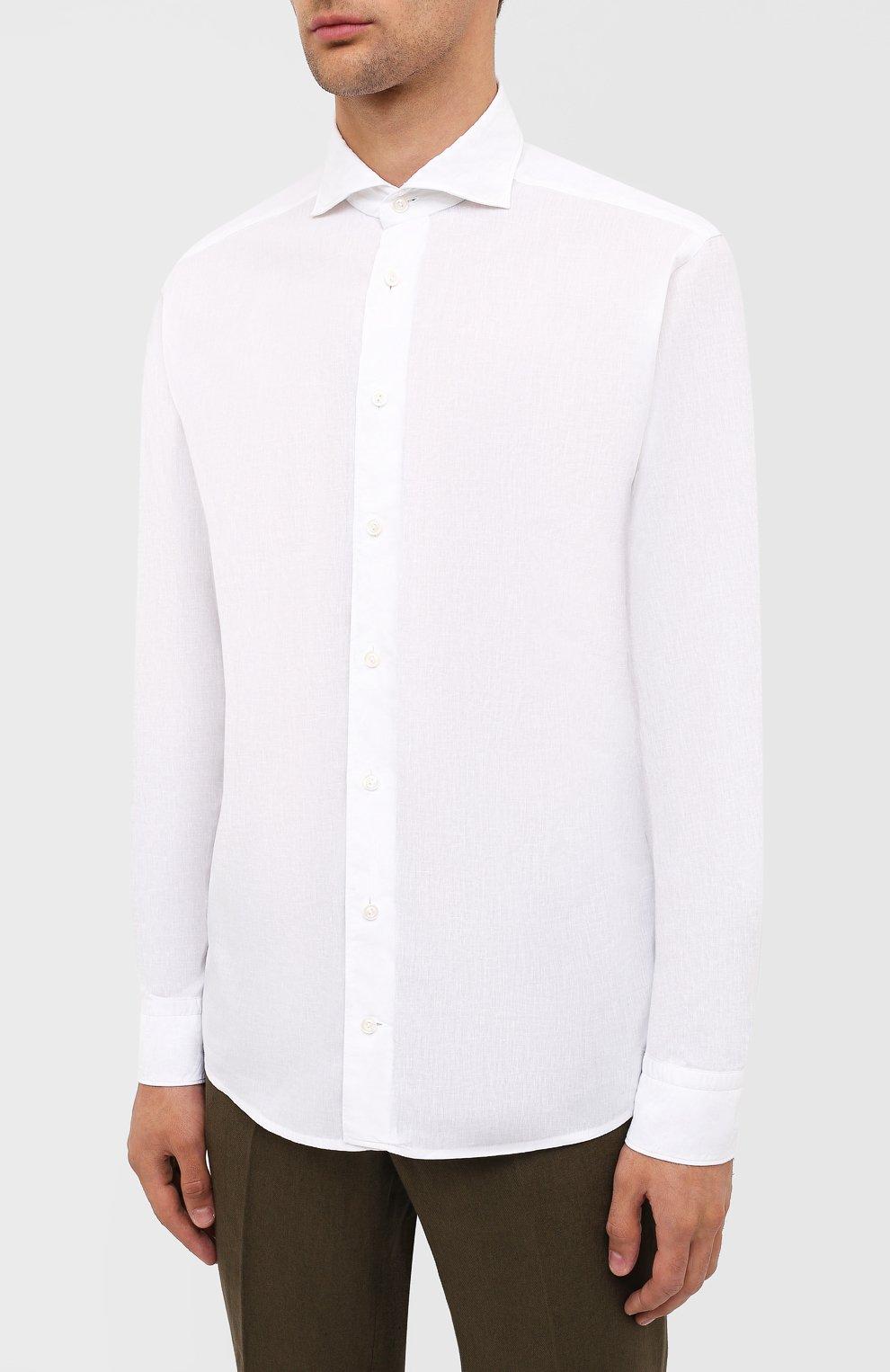 Мужская рубашка изо льна и хлопка ETON белого цвета, арт. 1000 01526   Фото 3