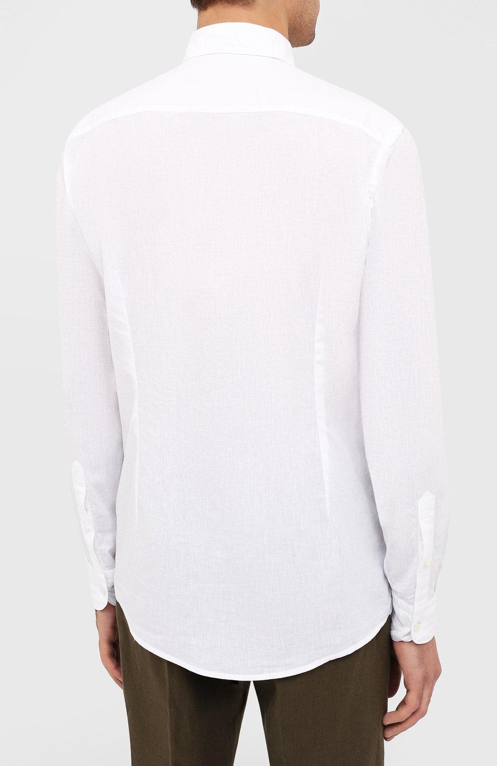 Мужская рубашка изо льна и хлопка ETON белого цвета, арт. 1000 01526   Фото 4