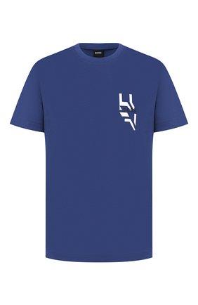 Мужская хлопковая футболка BOSS синего цвета, арт. 50432075 | Фото 1