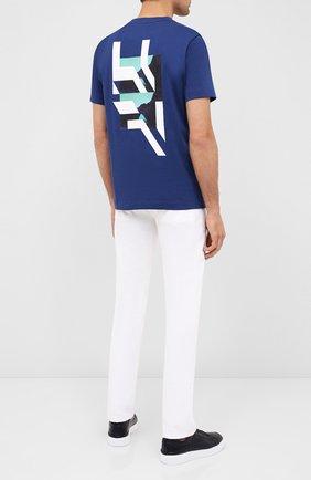 Мужская хлопковая футболка BOSS синего цвета, арт. 50432075 | Фото 2