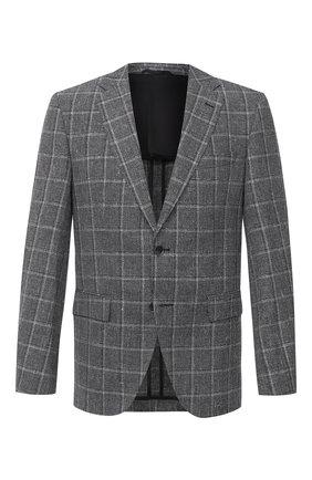 Мужской пиджак из шерсти и льна BOSS темно-серого цвета, арт. 50432972 | Фото 1