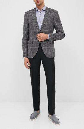 Мужской пиджак из шерсти и льна BOSS темно-серого цвета, арт. 50432972 | Фото 2