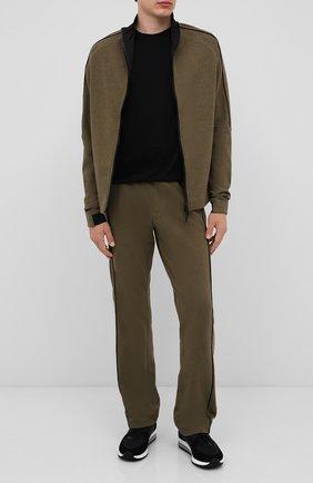 Мужской хлопковые брюки CROW'S EYE зеленого цвета, арт. LE 54 | Фото 2