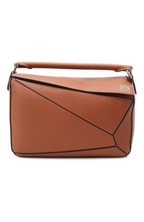 Женская сумка puzzle LOEWE светло-коричневого цвета, арт. 322.30.S20 | Фото 1 (Материал: Натуральная кожа; Сумки-технические: Сумки top-handle, Сумки через плечо; Размер: medium)