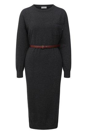 Женское кашемировое платье BRUNELLO CUCINELLI черного цвета, арт. M2E811A90P | Фото 1