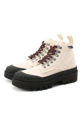 Женские текстильные ботинки lug sole PROENZA SCHOULER кремвого цвета, арт. PS32051A/09225 | Фото 1