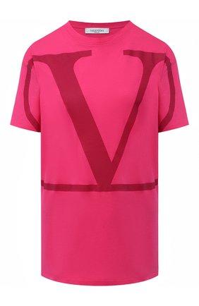 Женская хлопковая футболка VALENTINO фуксия цвета, арт. UB3MG01Z4Q6   Фото 1