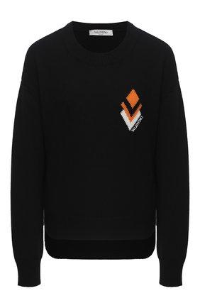 Женская свитер из шерсти и кашемира VALENTINO черного цвета, арт. UB3KC14R5N7   Фото 1