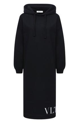 Женское хлопковое платье VALENTINO черного цвета, арт. UB3MJ01Y5Q7   Фото 1