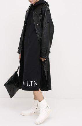 Женское хлопковое платье VALENTINO черного цвета, арт. UB3MJ01Y5Q7   Фото 2
