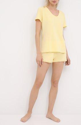 Женская хлопковая футболка MEY желтого цвета, арт. 16 387 | Фото 2