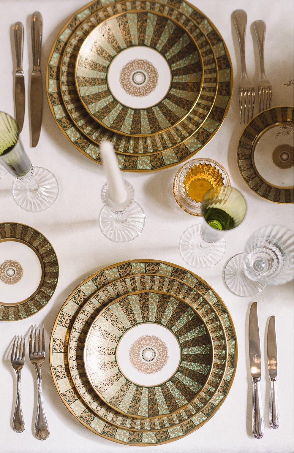 Мужского сервировочная тарелка eventail vert  BERNARDAUD зеленого цвета, арт. 1848/6189   Фото 2