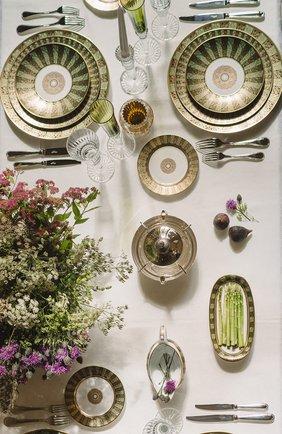 Мужского сервировочная тарелка eventail vert  BERNARDAUD зеленого цвета, арт. 1848/6189   Фото 3