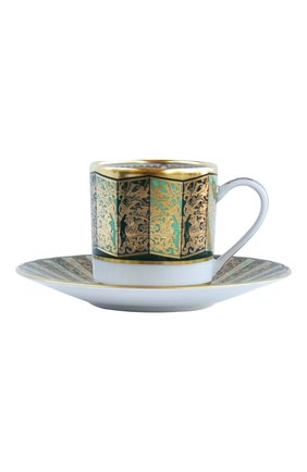 Мужского кофейная чашка с блюдцем eventail vert  BERNARDAUD зеленого цвета, арт. 1848/79 | Фото 1
