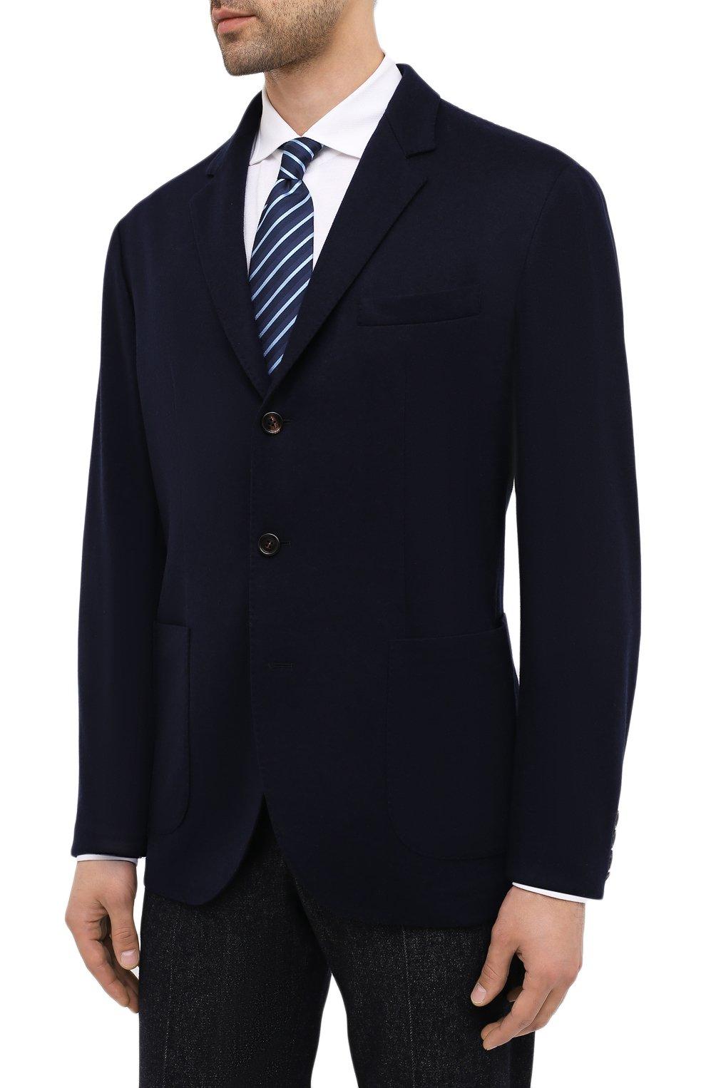 Мужской кашемировый пиджак BRUNELLO CUCINELLI темно-синего цвета, арт. ML8968J01 | Фото 3 (Случай: Коктейльный; Материал внешний: Шерсть, Кашемир; Рукава: Длинные; Длина (для топов): Стандартные; Стили: Классический; 1-2-бортные: Однобортные; Пиджаки М: Приталенный; Материал подклада: Купро)
