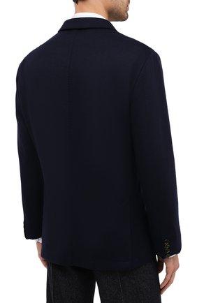 Мужской кашемировый пиджак BRUNELLO CUCINELLI темно-синего цвета, арт. ML8968J01 | Фото 4 (Случай: Коктейльный; Материал внешний: Шерсть, Кашемир; Рукава: Длинные; Длина (для топов): Стандартные; Стили: Классический; 1-2-бортные: Однобортные; Пиджаки М: Приталенный; Материал подклада: Купро)
