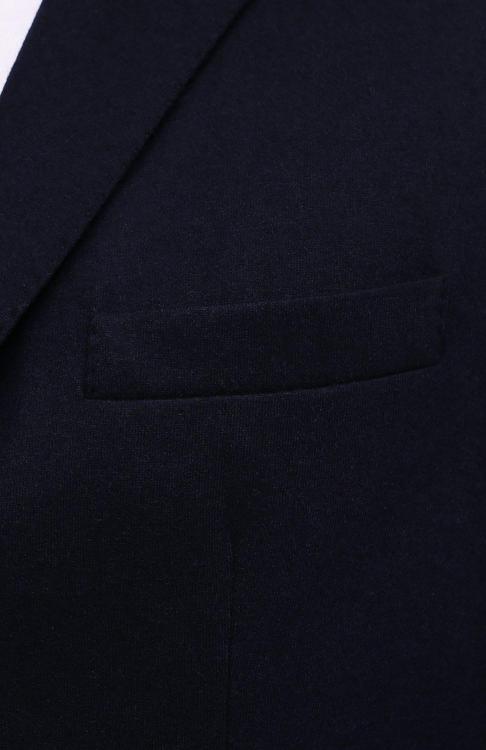 Мужской кашемировый пиджак BRUNELLO CUCINELLI темно-синего цвета, арт. ML8968J01 | Фото 5 (Случай: Коктейльный; Материал внешний: Шерсть, Кашемир; Рукава: Длинные; Длина (для топов): Стандартные; Стили: Классический; 1-2-бортные: Однобортные; Пиджаки М: Приталенный; Материал подклада: Купро)