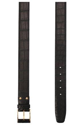 Мужской ремень из кожи крокодила со сменными пряжками ZILLI черного цвета, арт. MJL-CLAQE-01010/C819/CR0P | Фото 2