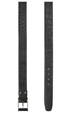 Мужской ремень из кожи аллигатора ZILLI серого цвета, арт. MJL-CLAQE-01010/0233/AMIS | Фото 2
