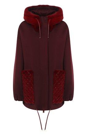 Женское пальто с отделкой мехом норки VALENTINO бордового цвета, арт. UF3FBC90DMF | Фото 1 (Материал внешний: Шерсть; Рукава: Длинные; 1-2-бортные: Однобортные)