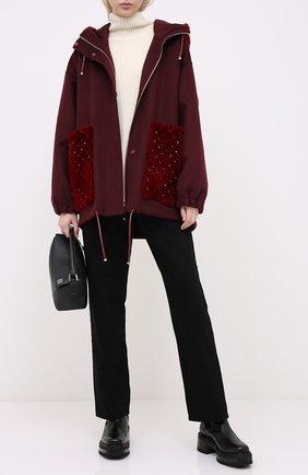 Женское пальто с отделкой мехом норки VALENTINO бордового цвета, арт. UF3FBC90DMF | Фото 2 (Материал внешний: Шерсть; Рукава: Длинные; 1-2-бортные: Однобортные)