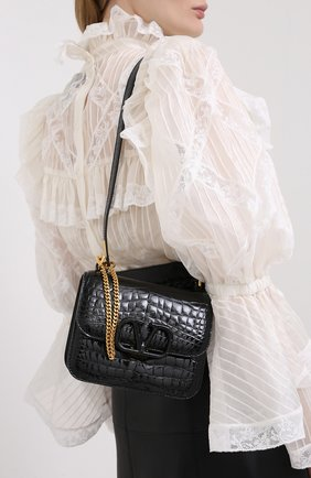 Женская сумка valentino garavani из кожи аллигатора VALENTINO черного цвета, арт. UW2B0F01/XDE/AMIS | Фото 2