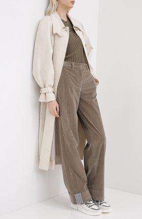 Женские хлопковые брюки LORENA ANTONIAZZI бежевого цвета, арт. A2044PA024/3068 | Фото 2