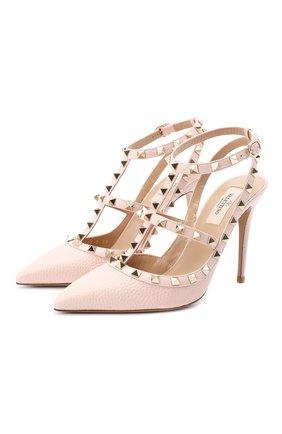 Женская кожаные туфли valentino garavani rockstud VALENTINO светло-розового цвета, арт. UW2S0393/VCE | Фото 1