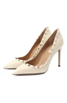 Женская кожаные туфли valentino garavani rockstud VALENTINO кремвого цвета, арт. UW2S0057/VCE | Фото 1