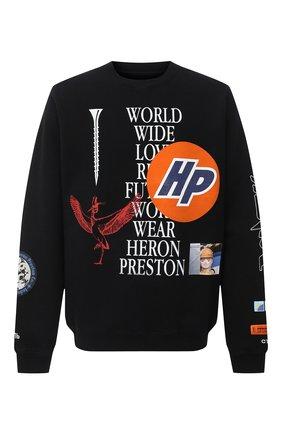 Мужской хлопковый свитшот HERON PRESTON черного цвета, арт. HMBA014F20JER0021001 | Фото 1
