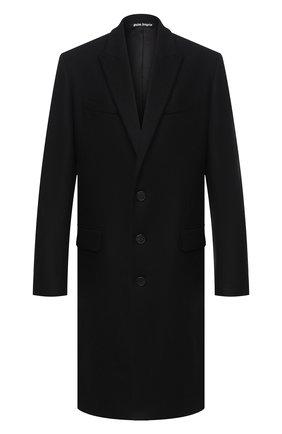 Мужской шерстяное пальто PALM ANGELS черного цвета, арт. PMEA083E20FAB0011001 | Фото 1