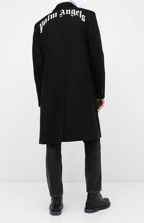 Мужской шерстяное пальто PALM ANGELS черного цвета, арт. PMEA083E20FAB0011001 | Фото 2