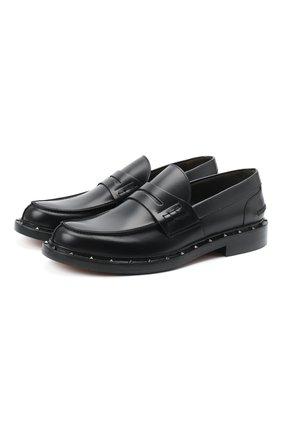 Мужские кожаные пенни-лоферы VALENTINO черного цвета, арт. UY2S0C42/PMF | Фото 1