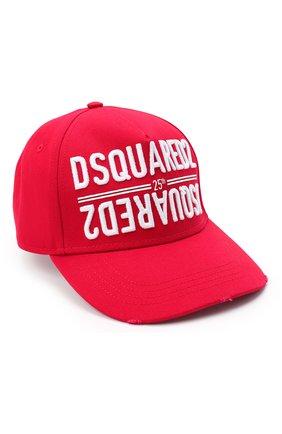 Мужской хлопковая бейсболка DSQUARED2 красного цвета, арт. BCM0340 05C00001 | Фото 1